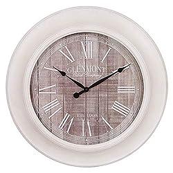 24 Whitewash and Gray Woodgrain Wall Clock