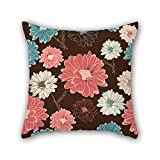 MaSoyy flower pillow covers 16 x 16 inches / 40 by 40 cm gift or decor for teens girls,chair,adults,sofa,divan,christmas - both sides