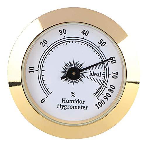 ViaGasaFamido Cigar Tobacco Hygrometer Precise Metal Round Analog Hygrometer for Cigar Humidor Cabinets 50mm Diameter (Gold) ()