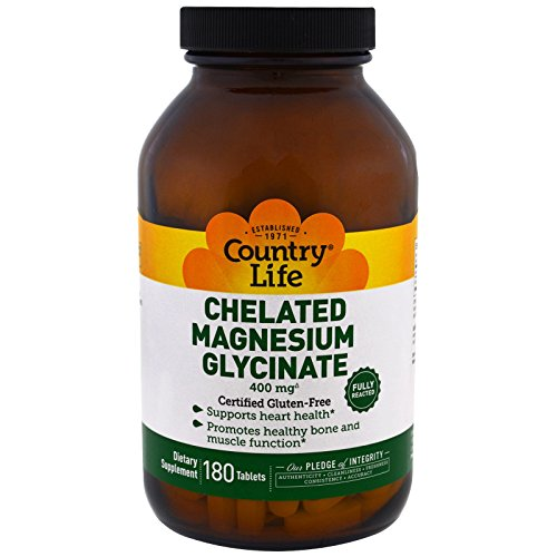 Country Life, Chelated Magnesium Glycinate, 180 Tablets