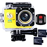 Sports Action Camera Ultra HD Waterproof DV Camcorder 4K WIFI Cam 1080P 170 Degree Wide Angle with Remote Yellow