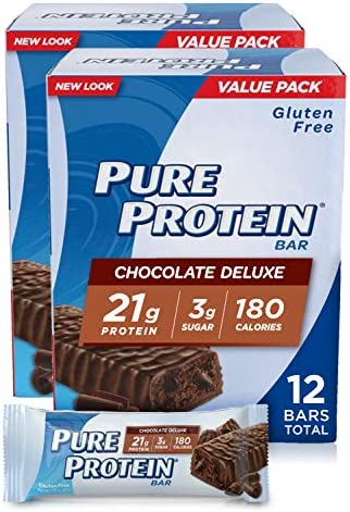 Pure Protein Bar Chocolate Deluxe, 6 Count Box of 1.76 Ounce Bars Pack of 2 Gluten-Free Protein Bar with 21g Protein, 3g Sugar
