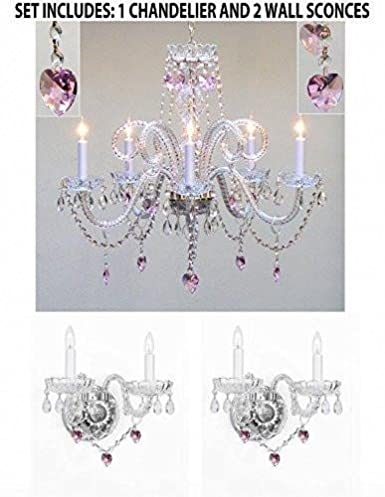 3pc Lighting Set Crystal Chandelier And 2 Wall Sconces W Pink