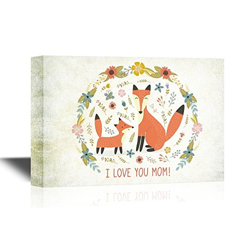 I Love You Mom with Baby Fox and Mother Fox Mother's Day Gift