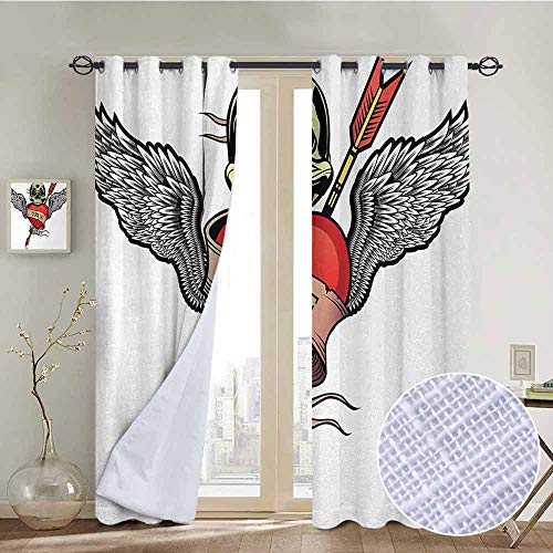 NUOMANAN Blackout Lined Curtains Tattoo,Angel Wings with Skull Heart Full of Blood Symbol of Real Love Valentines,Red White and Black,Thermal Insulated,Grommet Curtain Panel 1 Pair 84