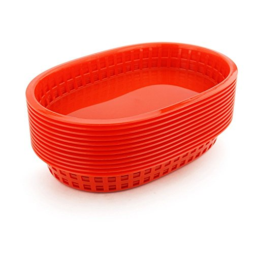 Foodservice Essentials (FFB-107R) Fast Food Baskets, Dozen (10 1/2-Inch x 7-Inch, Plastic, Red)
