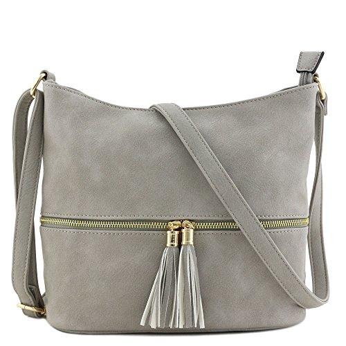 Tassel Zipper Bucket Crossbody Bag ()
