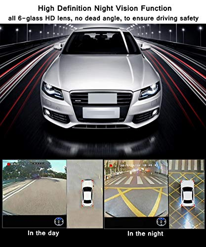 CarThree 3D 360 Degree Bird View System Waterproof 1080P Car DVR Universal Recording Parking Rear View Camera for All Car