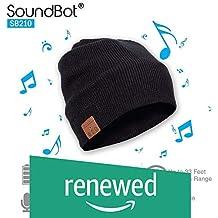 SoundBot SB210 HD Stereo Bluetooth 4.1 Wireless Smart Beanie Headset Musical Knit Headphone Speaker Hat Speakerphone Cap,Built-in Mic (BLK/BLK) (Renewed)