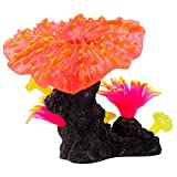 Uniclife Glowing Effect Coral Plant Ornament Silicone Decor for Fish Tank Aquarium, Red
