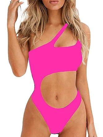 size 40 f9672 450fc Ducomi Joy Costume Intero Donna - Costumi da Bagno Interi - Bikini  Monospalla con Cut-out in Vita, Top Push Up Imbottito e Brasiliana -  Beachwear Sexy ...