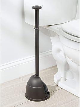 Pompa sturalavandini in plastica e gomma mDesign Sturalavandino a ventosa per il bagno argento Sturalavandino a pressione con apposito supporto