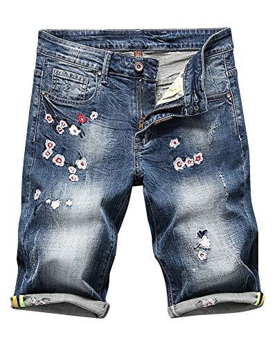 Jeansshort Da Abbigliamento Uomo Ginocchio Blau Estate Elastici Lunghezza Ricamo In Pantaloncini Denim Basic Festivo Sottili Al Jogger Leisure BqZgAU