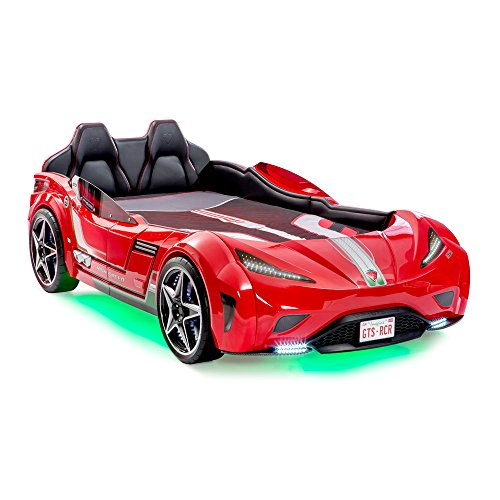 (Cilek GTS Twin Size Kids Race Car Bed Frame, For Boys from 2 to 12, Remote Controlled, LED Headlights, Engine Sound, Upholstered Headboard, Interior Padding, License Plate, Red)
