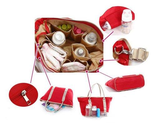 Multi-functional Tonwhar tamaño grande de recambio de alta capacidad de poner bolsa para la compra multi-bolsillo para la placa de - rojo