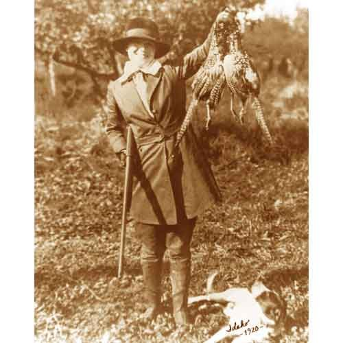 Quality digital print of a vintage photograph - Woman Pheasant Hunting in Idaho, 1920.Sepia Tone 11x14 inches - Matte Finish (Best Pheasant Hunting In Idaho)