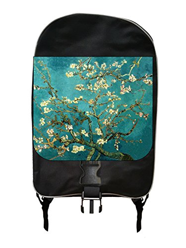 Artist Vincent Van Gogh's Almond Blossoms Painting Print Design - Girls Large Black Multi-Purpose School Backpack and Pencil Case Set - Elementary / Middle / High School ()