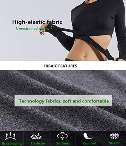 22970efdcf8c0 ... Womens Yoga Tank Top Shirt Running Workouts Clothes Stretchy Round Neck  Long Sleeve Crop Top Ventilation. 🔍. 1; 2