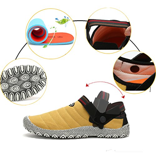 Mode Pantoufles Anti Femmes Hommes Baskets et Plates Pour Chaussures et Chaussures Slip D'Extérieur Jaune D'Intérieur Toile Basses Voovix On Dérapantes en Hv8wxYq