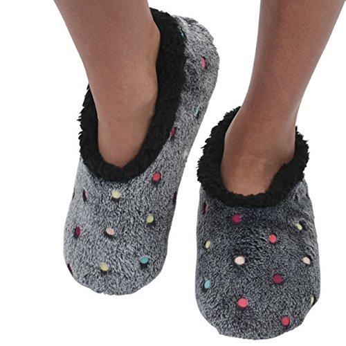Snoozies Womens Lotsa Dots Colorful Cozy Sherpa Non Skid Slipper Socks - Black, Large