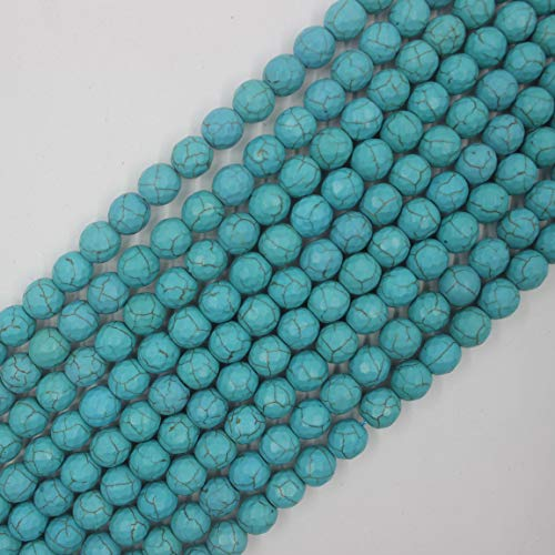 8mm Synthetic Faceted Round Turquoise Beads Loose Gemstone Beads for Jewelry Making 15 Inch (48-50pcs)