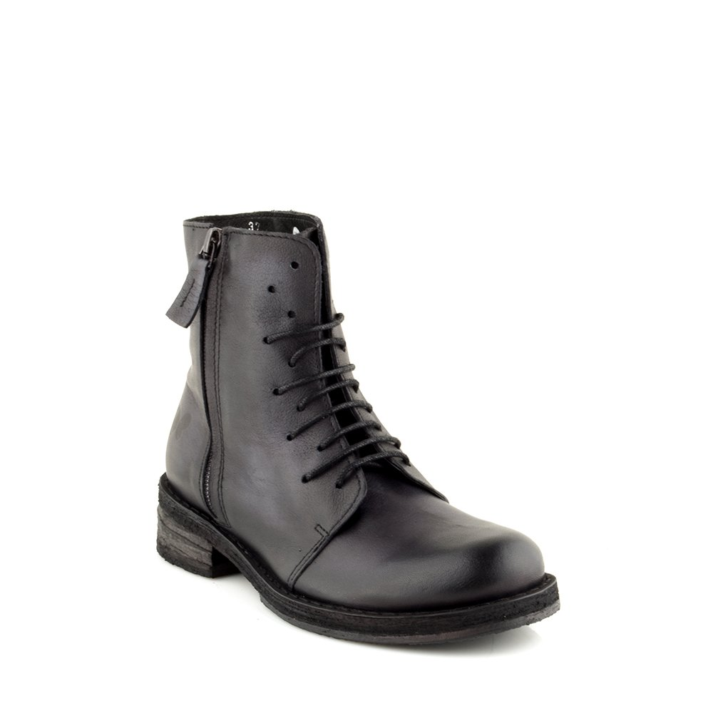 Felmini Damen Schuhe - Verlieben Cooper A615 - Schnürung Stiefeletten - Echtes Leder - Schwarz