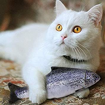 Catnip Toy Cat Fish Toy Cat Supplies Catnip Kicker Toys 3D Simulation Stuffed Toy Pillow Simulated Fish 7.9in,5pcs