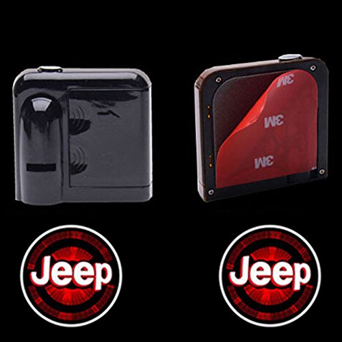Logo Light (2pc Wireless Drill Free Easy Install Car Door LED Projector Courtesy Welcome Logo Ghost Shadow Light Magnet Sensor for Eagle American Flag Infiniti Cadillac Dooge Jeep (JEEP))