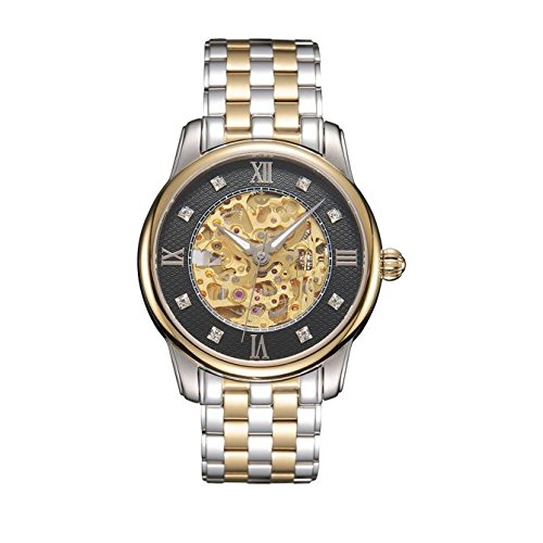 Men's Waterproof Hollow Mechanical Gold Movement Wristwatch - Luxury Rhinestone Gift Watch with Hidden Clasp