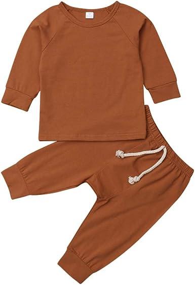 Pijama unisex con pantalón de 2 piezas, conjunto de ropa de algodón orgánico para bebés y niñas: Amazon.es: Ropa y accesorios