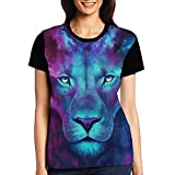 CKS DA WUQ colorful Galaxy Lion Women's Raglan T-Shirt Casual Sport Baseball Tees Tops Undershirts