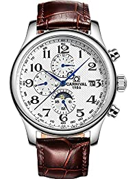 Carnival watches multifunctional automatic mechanical watch luminous moon Steel Men Watch (White Dial Leather Watchband)