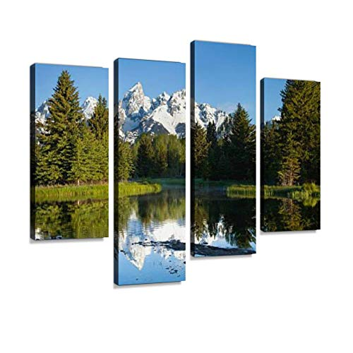 - Grand Tetons Reflecting in Calm Beaver Pond Canvas Wall Art Hanging Paintings Modern Artwork Abstract Picture Prints Home Decoration Gift Unique Designed Framed 4 Panel