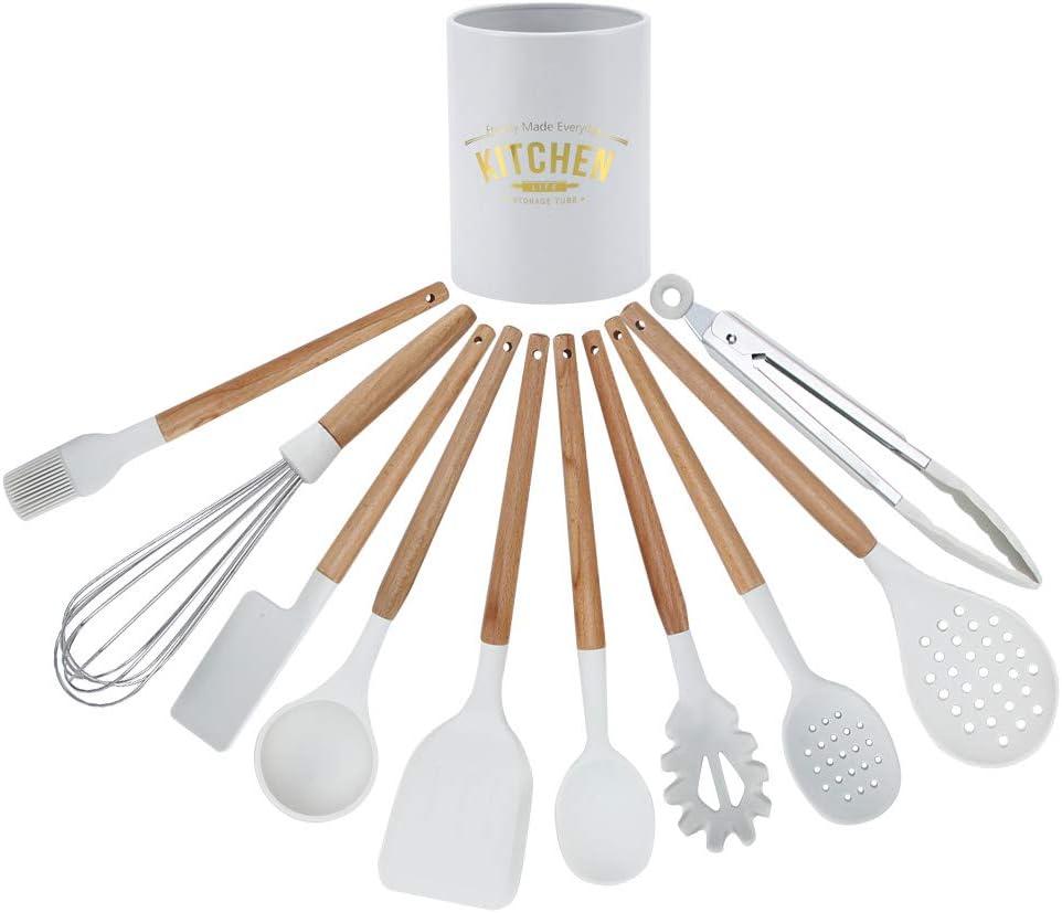 BGDR Set di Utensili da Cucina 11 Pezzi Kit di stoviglie in Silicone Bianco Utensili da Cucina antiaderenti con Scatola