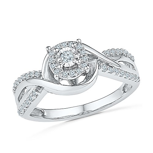 Sterling Silver White Round Diamond Fashion Ring by D-GOLD