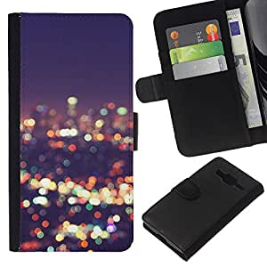 KLONGSHOP // Tirón de la caja Cartera de cuero con ranuras para tarjetas - luces horizonte de la ciudad de desenfoque noche brillante - Samsung Galaxy Core Prime //