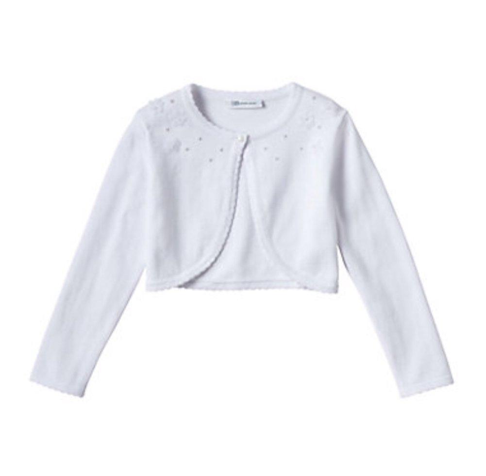Bonnie Jean Girls Long Sleeve Embellished Cardigan, White (Small)