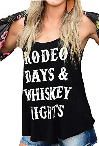 Womens Rodeo Days Whiskey Nights Tank Tops Summer Funny Letters Print Sleeveless Vest Tees (Black, S)