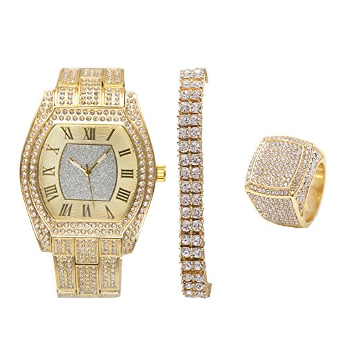 Bling-ed Out Barrel Shape Mens Hip Hop Watch w/ 2 Row Iced Tennis Bracelet and Bling Ring - ()