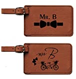 Personalized Leather Luggage Tags Mr. & Mrs. Wedding Gift-Bag Tags-Set of 2 Engraving