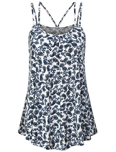 JCZHWQU Summer Tops Women Juniors Tank Tops Super Cute Soft Stretchy Scalloped Hemline Vibrant Paisley Printed Cami Tunic Mini Dress Beach Clothes Blue M ()