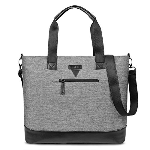 Ladies Laptop Tote Bag,DTBG Stylish Large Womens Business Laptop Shoulder Bag Work Tote Purse Office Messenger Briefcase Travel Shopping Handbag with Strap for Up to 15.6 Inch Laptop Computer,Grey 16' Satchel Tote Bag