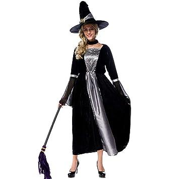 Vestido De Halloween Para Mujer, Disfraz De Bruja De Falda Larga ...