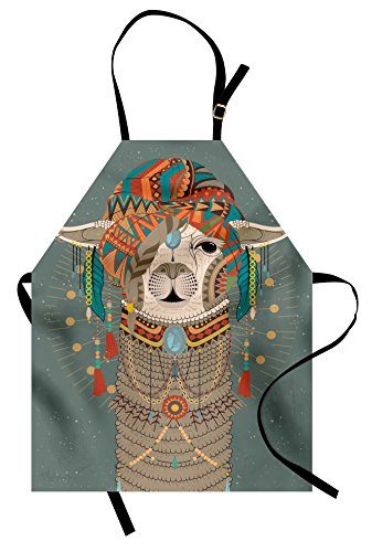 Ambesonne Llama Apron, Colorful Headwear Wearing Llama with Accessories Earrings Necklace Abstract Animal, Unisex Kitchen Bib with Adjustable Neck for Cooking Gardening, Adult Size, Gray Green