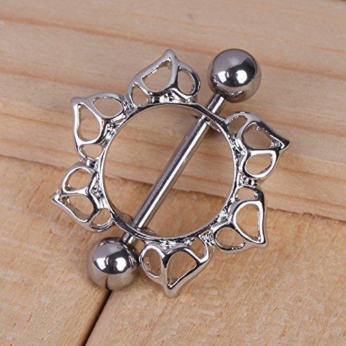 Best Price Vktech® Flower Rhinestone Diamante Barbell Belly Button Nipple Ring Body Piercing