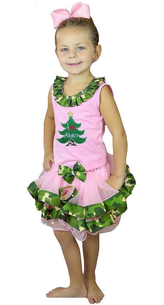 Petitebella I Love Xmas Tree Shirt Pink Camouflage Petal Skirt Set Nb-8y