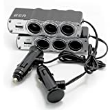 SUPEREX 2 Packs 60W 1000mA Output 4 Way Car Cigarette Lighter Socket Splitter Three DC Outlets Adapter Splitter USB Charger for iPhone iPad Laptop GPS DVD Player Bluetooth