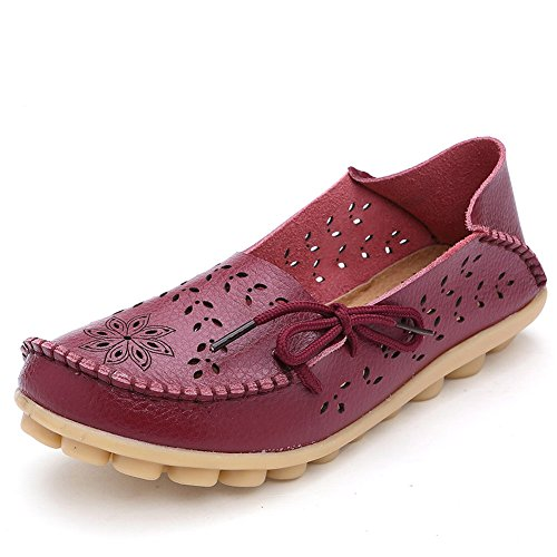 CIOR Women's Genuine Leather Loafers Casual Moccasin Driving Shoes Indoor Flat Slip-on Slippers,M912,Wine red,39