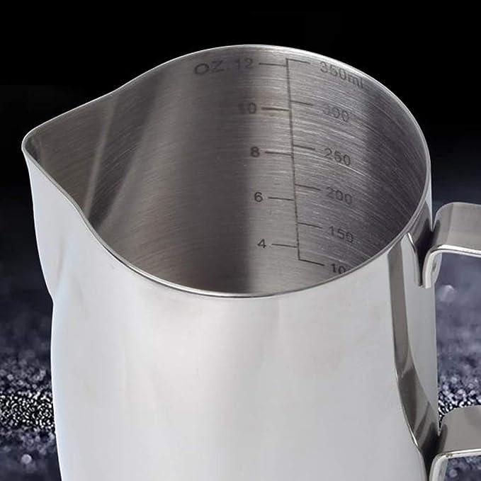 20 oz Jarra de leche jarra de espuma de leche museourstyty de 600 ml 304 taza de leche de acero inoxidable con term/ómetro de vapor para espumar