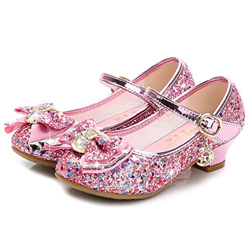 Waloka Kids Girl Princess Shoes Wedding 4T Pink Sequins Little Flower Girls Mary Jane Glitter Shoes Size 10 4 Yr Cute Toddler Girls High Heels Shoes Cosplay Dress up Bridesmaid (Pink 28)]()